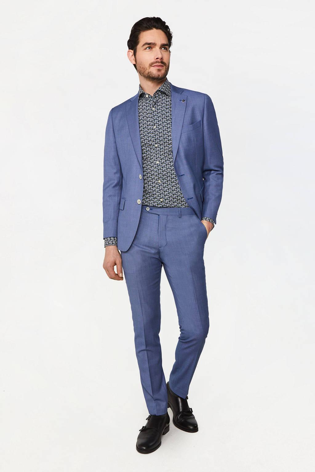WE Fashion Van Gils slim fit colbert met wol mid blue, Mid blue