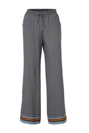 Yessica loose fit broek met all over print donkerblauw multi
