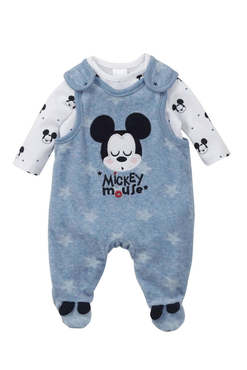 Disney Baby @ C&A velours Mickey Mouse boxpak met printopdruk lichtblauw/wit, Lichtblauw/wit