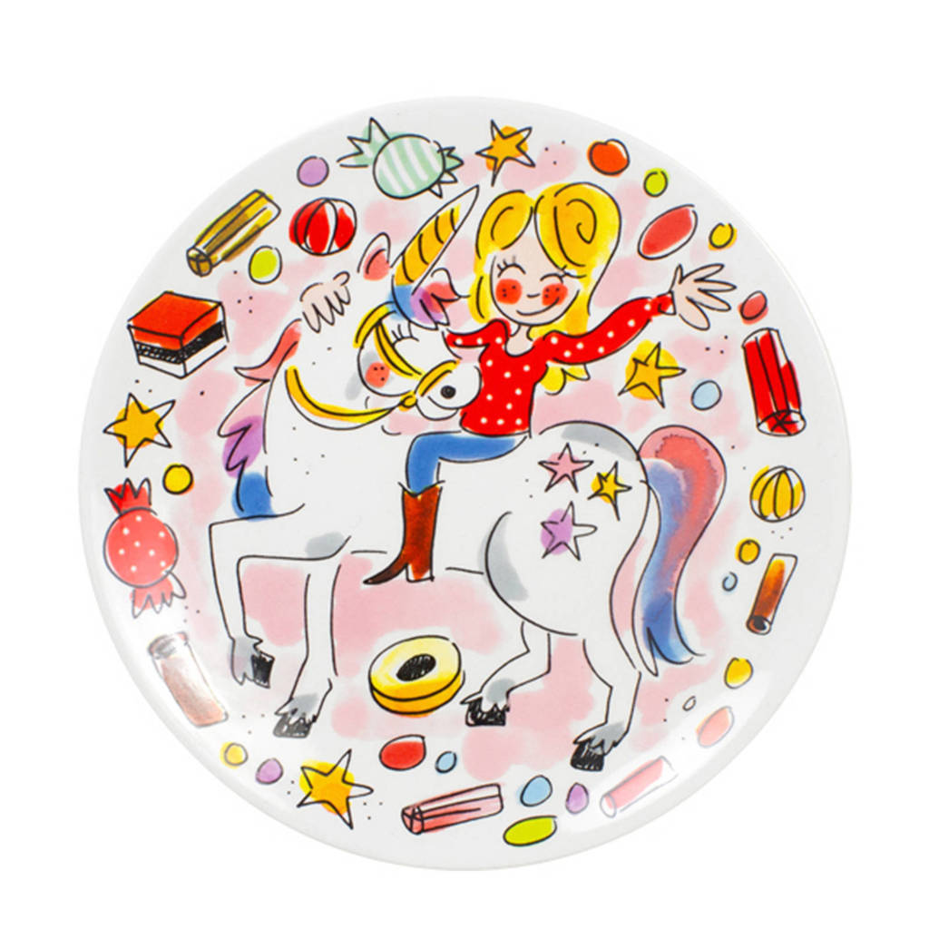 Blond Amsterdam gebaksbord (ø18 cm) - Unicorn, Roze
