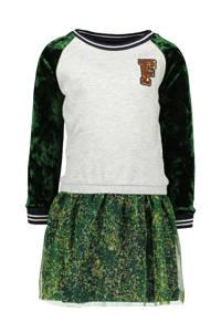 Like Flo jurk met fluweel en mesh rok groen/grijs, Groen/grijs
