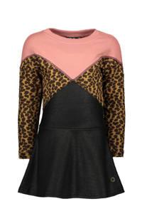 Like Flo jersey jurk roze/zwart/bruin, Roze/zwart/bruin
