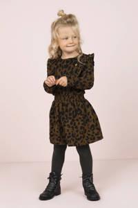 Like Flo jurk met panterpint en ruches bruin/zwart, Bruin/zwart