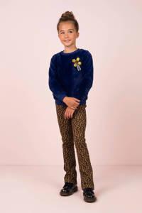 Like Flo imitatiebont sweater met printopdruk en 3D applicatie kobaltblauw, Kobaltblauw