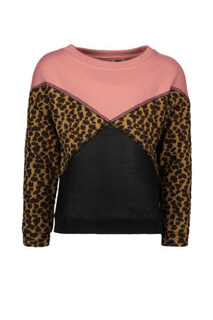 sweater met colorblock dessin roze