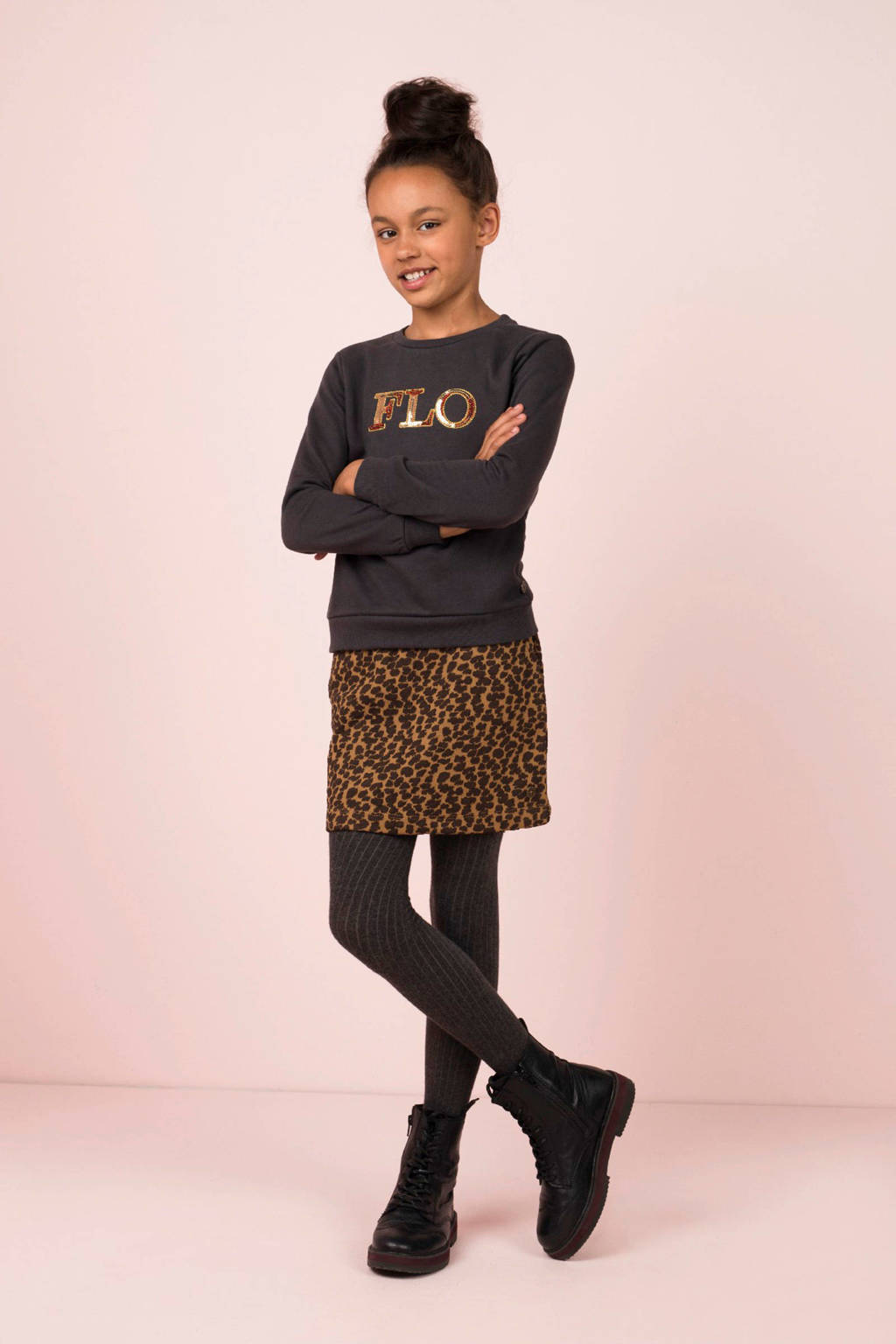 Like Flo sweater met tekst en pailletten antraciet, Antraciet