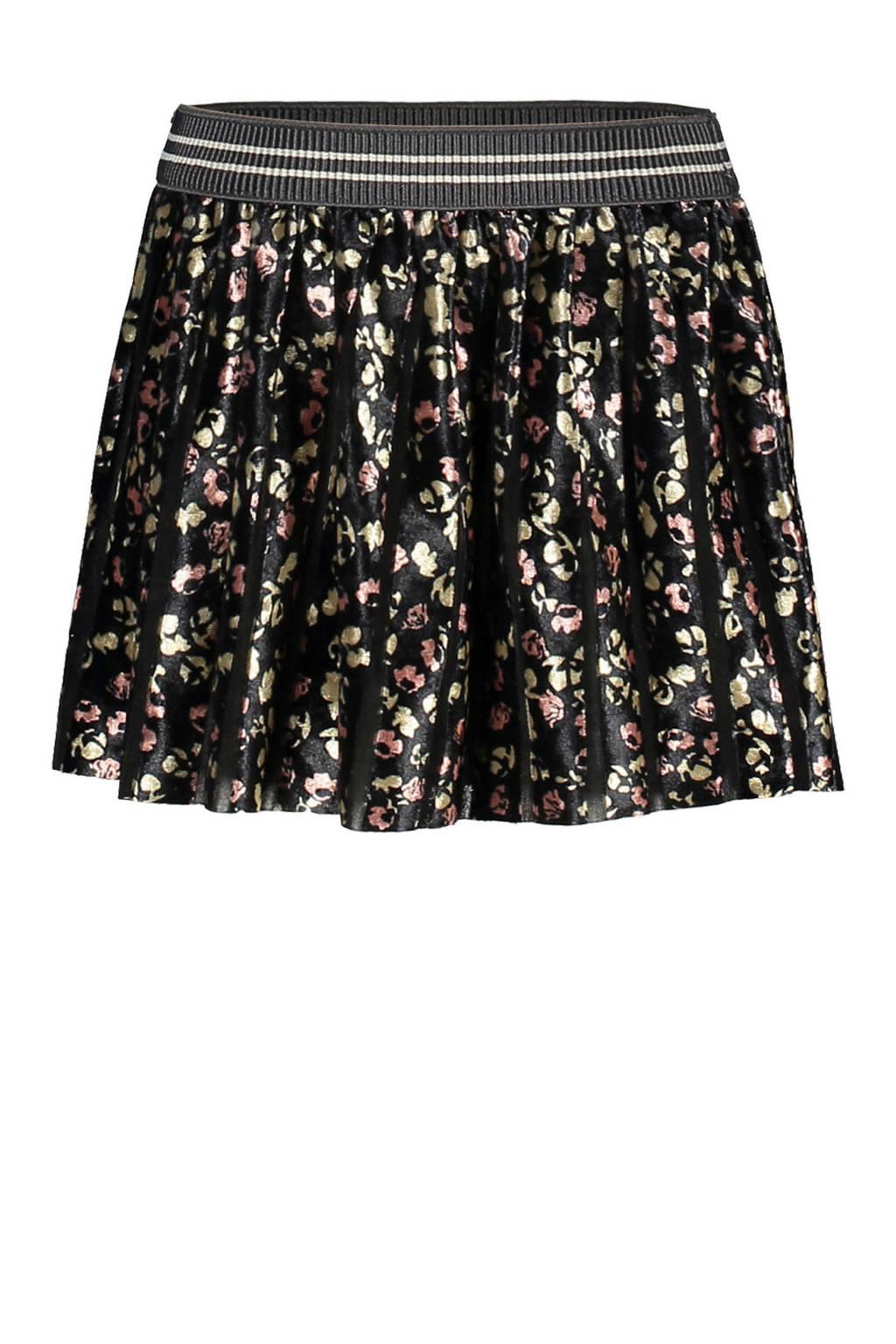 Like Flo gebloemde velours rok zwart/goud/roze, Zwart/goud/roze