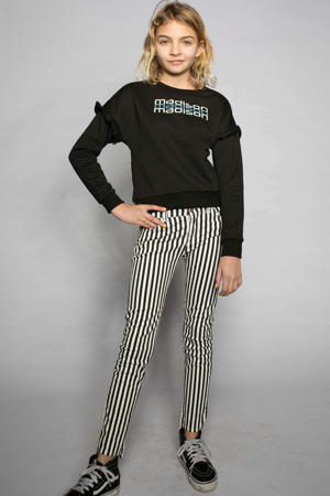 sweater Yes Luna met tekst en ruches zwart