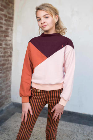 sweater Color up met all over print lichtroze/paars/oranje
