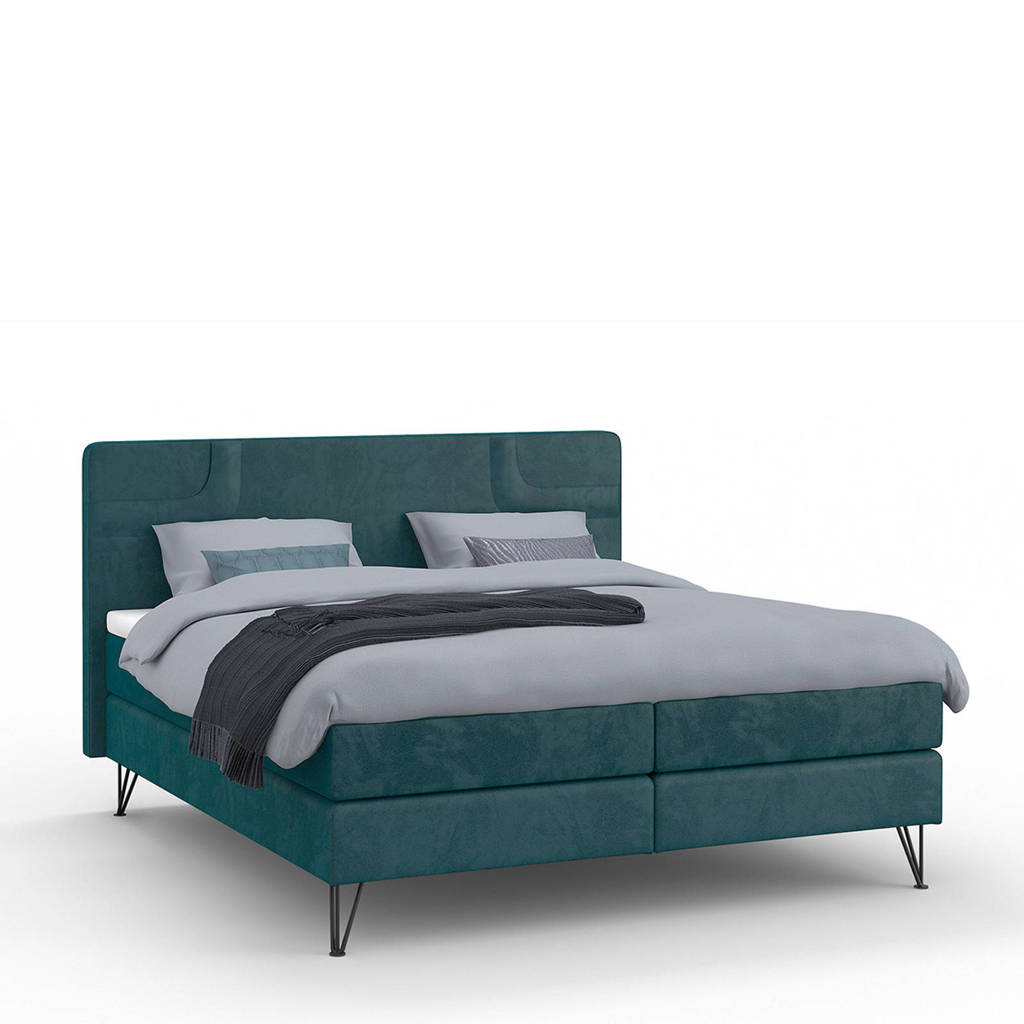 Karlsson Beter Bed complete boxspring Attraktiv Runda (160x200 cm), Petrol
