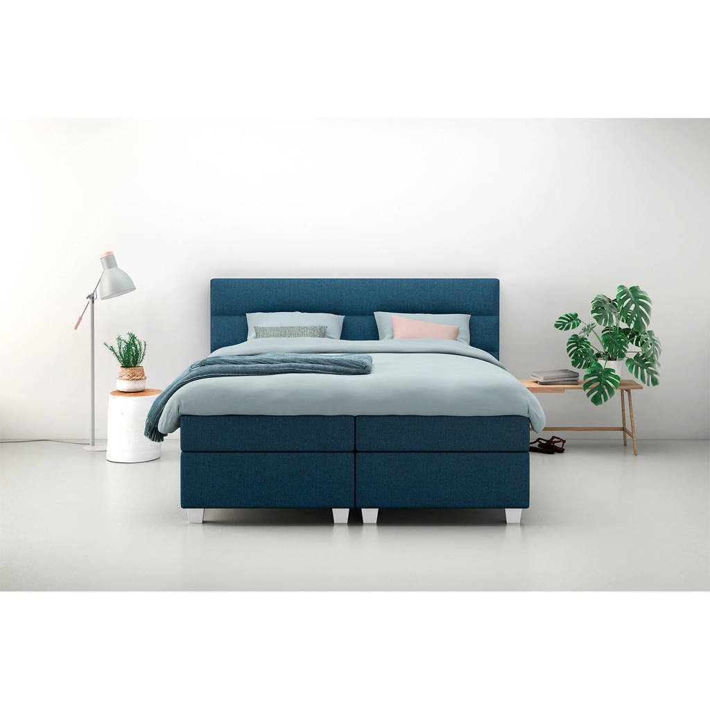 Karlsson Beter Bed complete boxspring Autentik Lina (180x210 cm), Donkerblauw