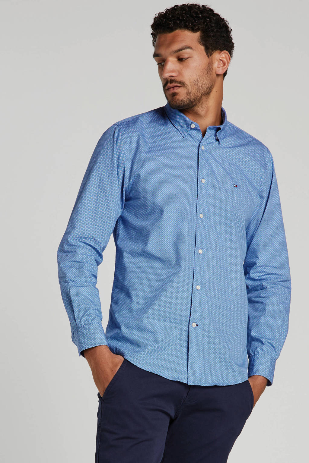 Tommy Hilfiger regular fit overhemd met all over print blauw, Blauw