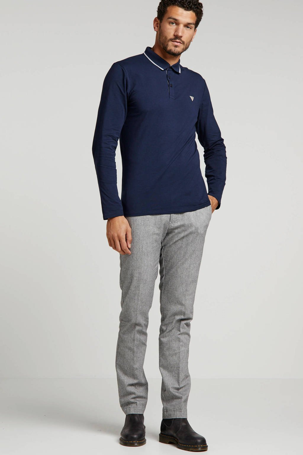 Tommy Hilfiger straight fit chino met all over print grijs, Grijs