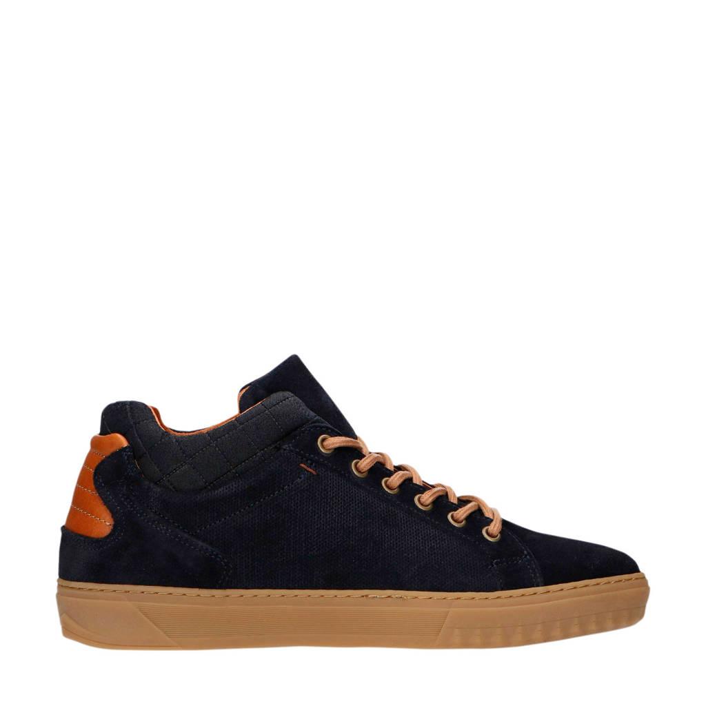 Manfield   suède sneakers donkerblauw/cognac, Blauw/cognac