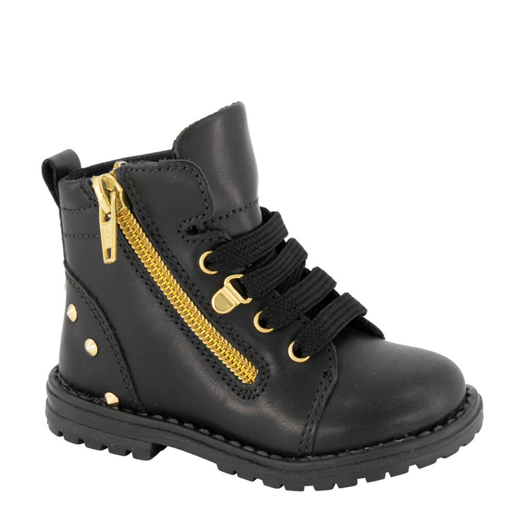 Cupcake Couture leren veterboots zwart/goud, Zwart