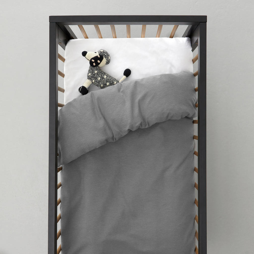 whkmp's own flanellen ledikant dekbedovertrek (100x135 cm), Baby (100 cm breed), Grijs