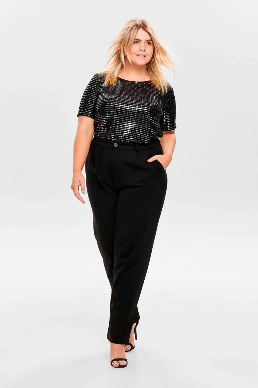 ONLY CARMAKOMA T-shirt met glitters zwart, Zwart