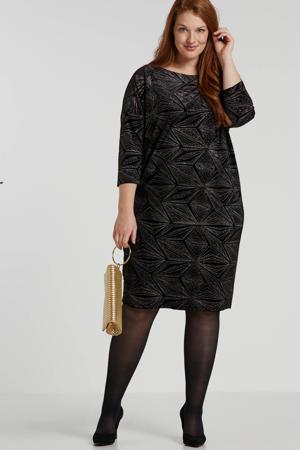 jersey jurk met all over print en glitters zwart