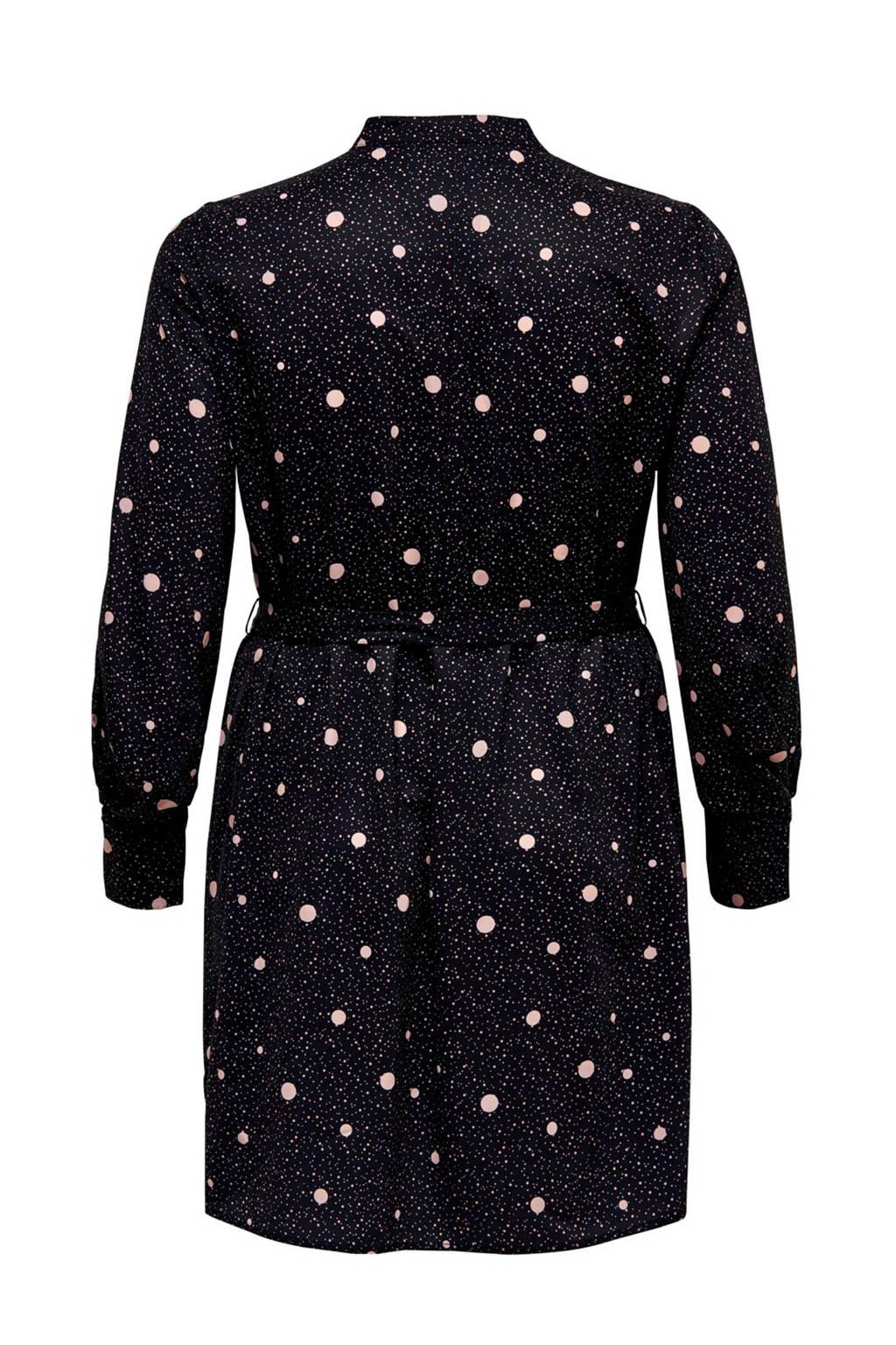ONLY CARMAKOMA jurk met all over print en ceintuur zwart/wit, Zwart/wit