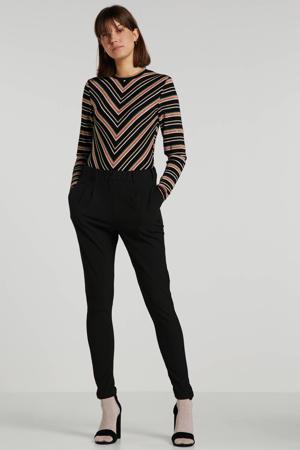 longsleeve met all over print en glitters zwart/roze/wit