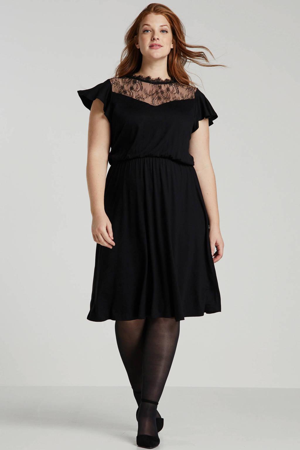 ONLY CARMAKOMA jurk met kant zwart, Zwart