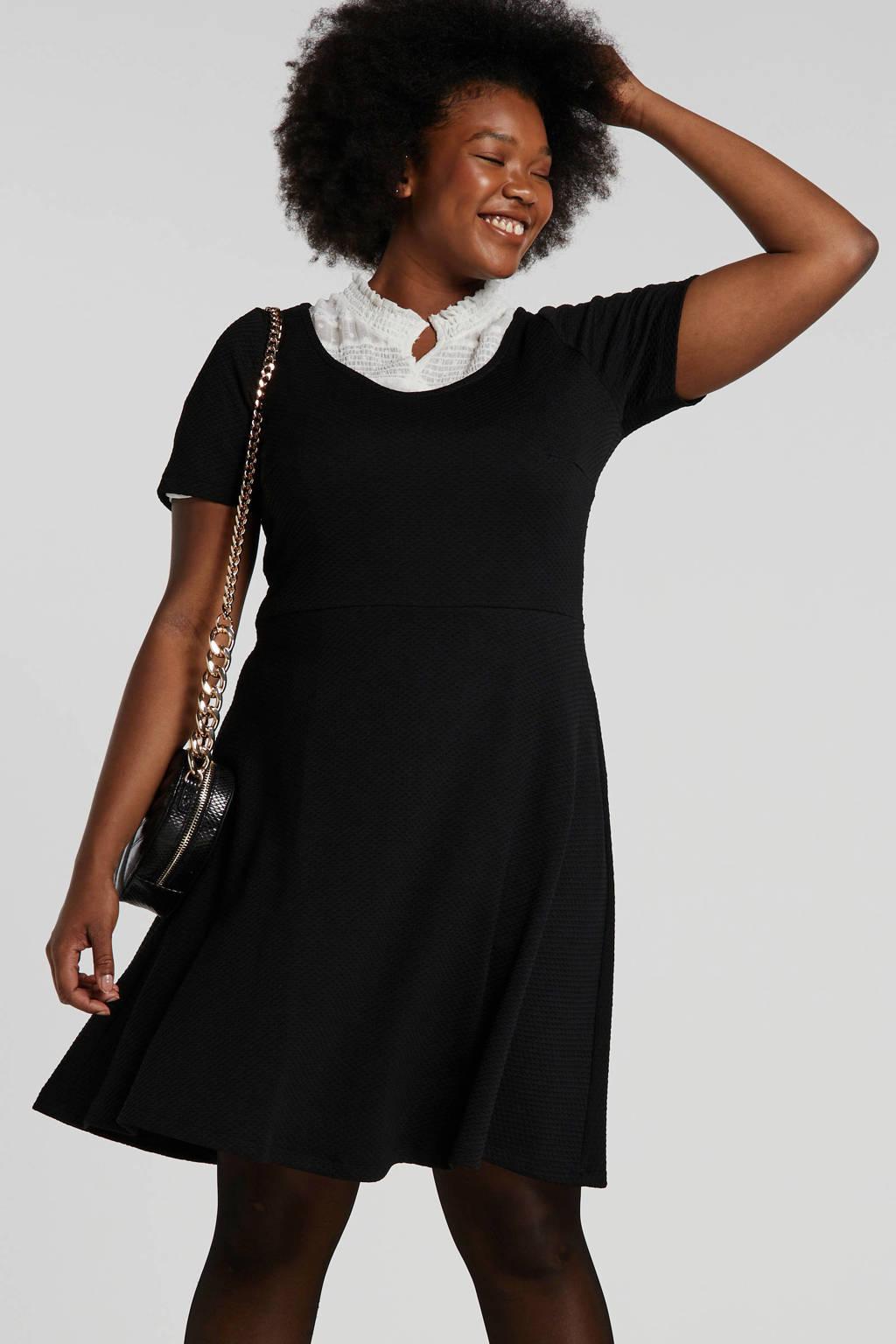 ONLY CARMAKOMA jersey jurk met textuur zwart, Zwart