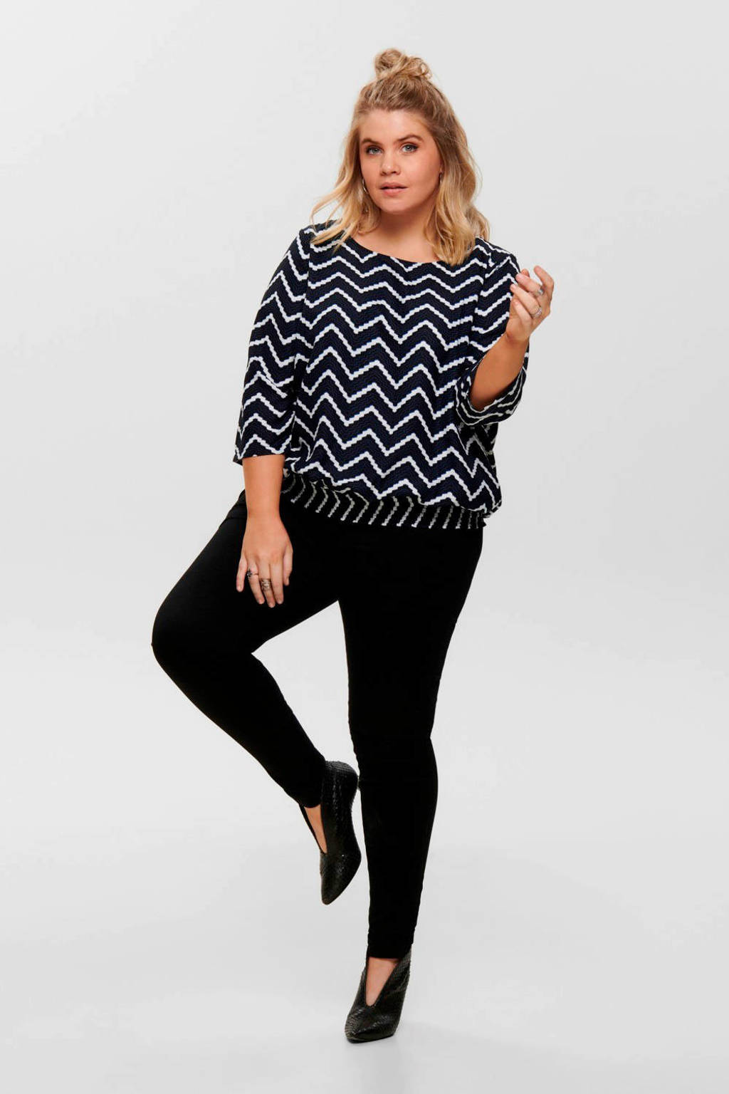 ONLY CARMAKOMA top met all over print zwart/wit, Zwart/wit