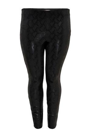 coated legging met slangenprint zwart