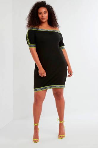 off shoulder jurk zwart/groen