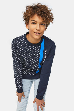 sweater met printopdruk donkerblauw/blauw/wit