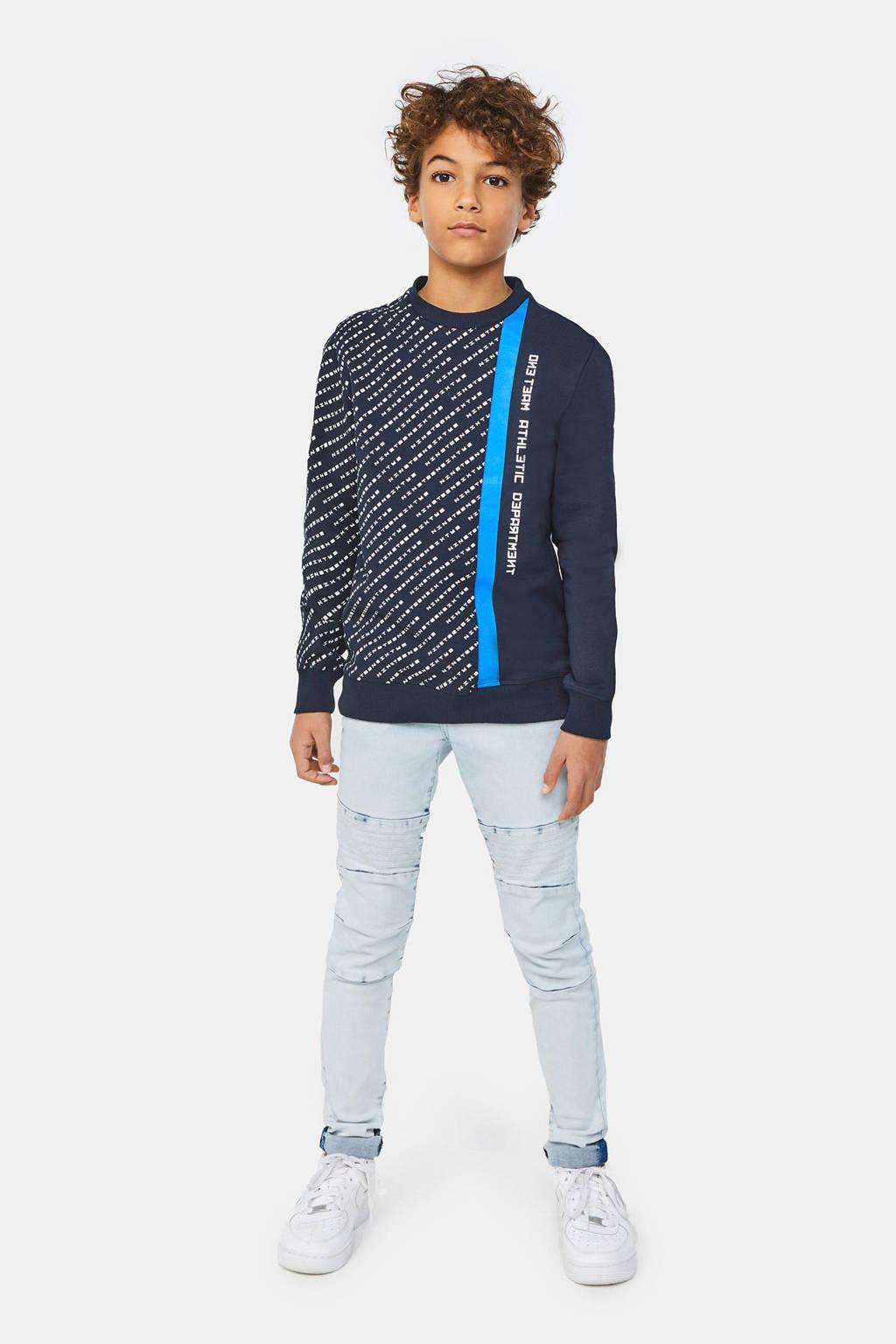 WE Fashion sweater met printopdruk donkerblauw/blauw/wit, Donkerblauw/blauw/wit