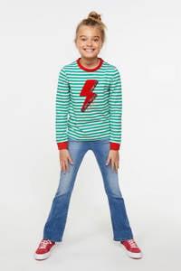 WE Fashion gestreepte longsleeve groen/wit/rood, Groen/Wit/Rood