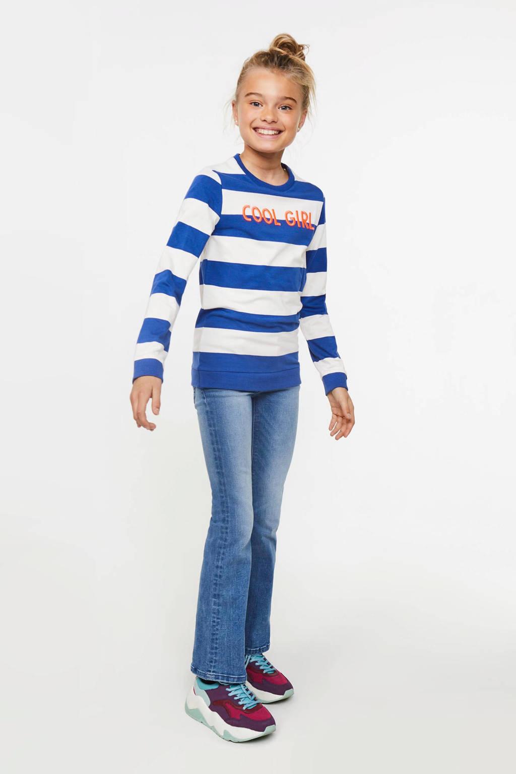 WE Fashion gestreepte longsleeve blauw/wit/oranje, Blauw/wit/oranje