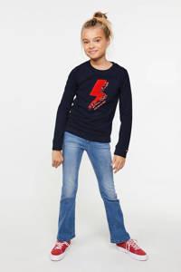 WE Fashion longsleeve met printopdruk en pailletten donkerblauw/rood, Donkerblauw/rood
