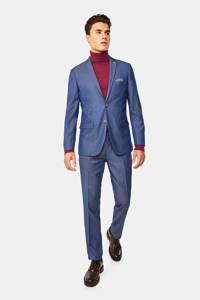 WE Fashion super slim fit colbert met all over print donkerblauw, Donkerblauw