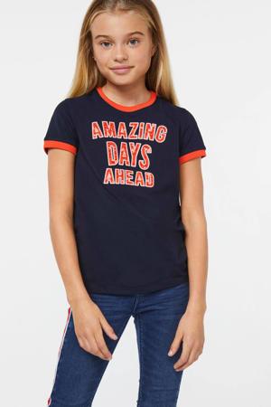 T-shirt met tekst donkerblauw/rood