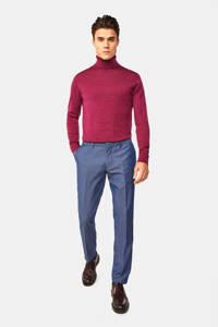 WE Fashion skinny pantalon met all over print donkerblauw, Donkerblauw