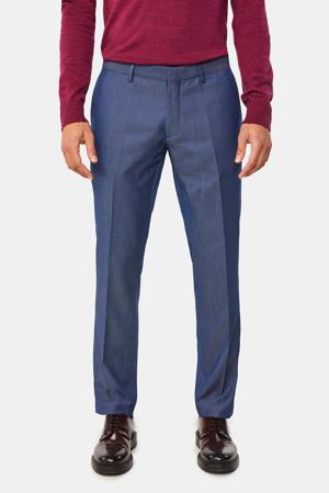 skinny pantalon met all over print donkerblauw