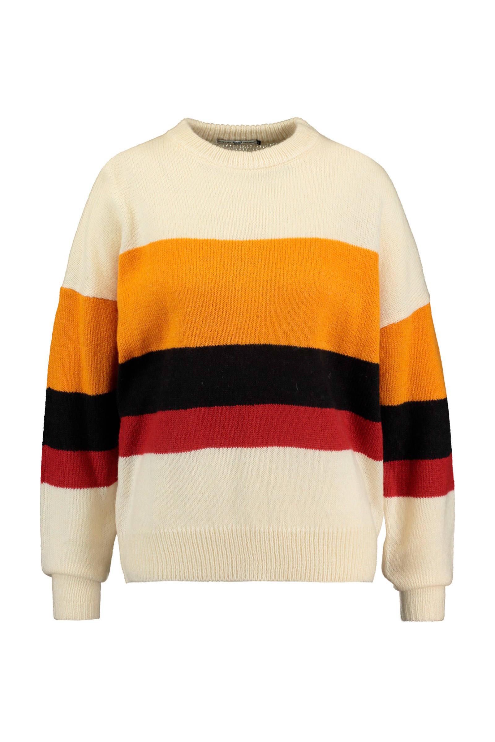 America Today gestreepte trui met wol geelzwart | wehkamp