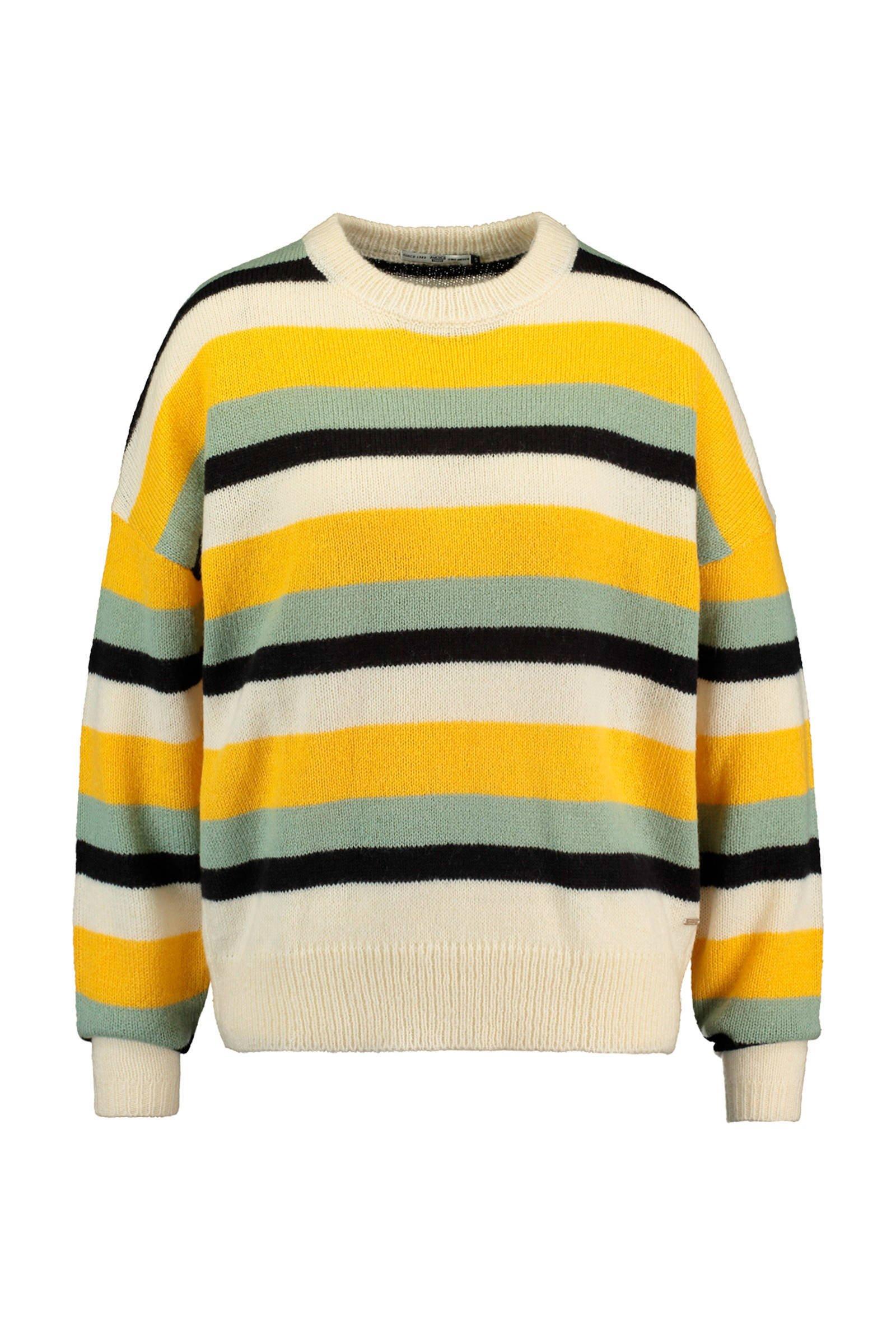 America Today gestreepte trui met wol geelzwart   wehkamp