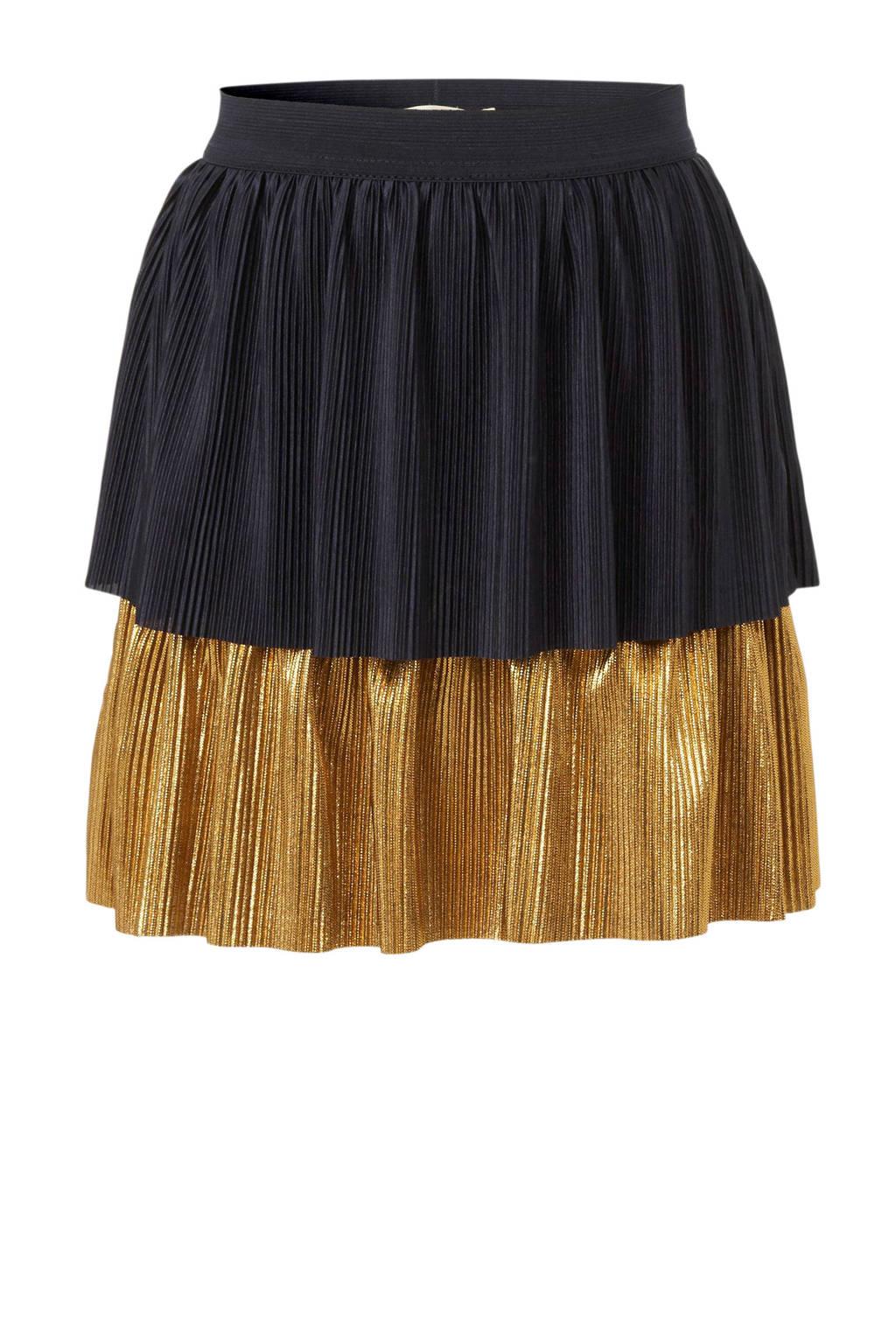 Small Rags plissérok donkerblauw/goud, Donkerblauw/goud
