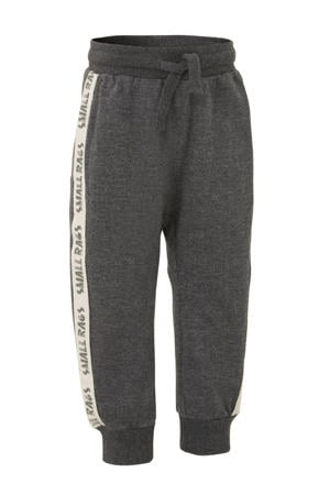 regular fit joggingbroek met zijstreep donkergrijs melange/wit