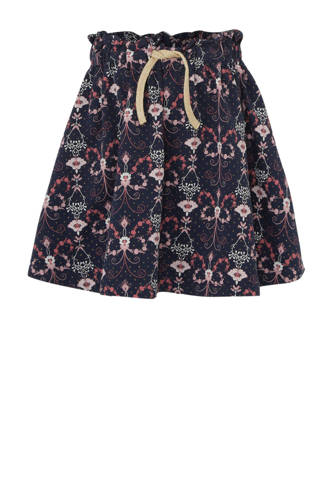 rok met all over print donkerblauw