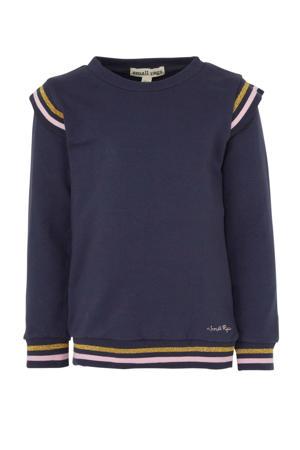 sweater met contrastbies donkerblauw