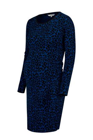 fijngebreide zwangerschapsjurk Trini met panterprint blauw/ zwart
