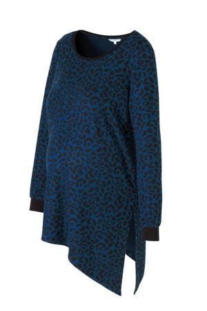 zwangerschapstop Toya met panterprint blauw/ zwart