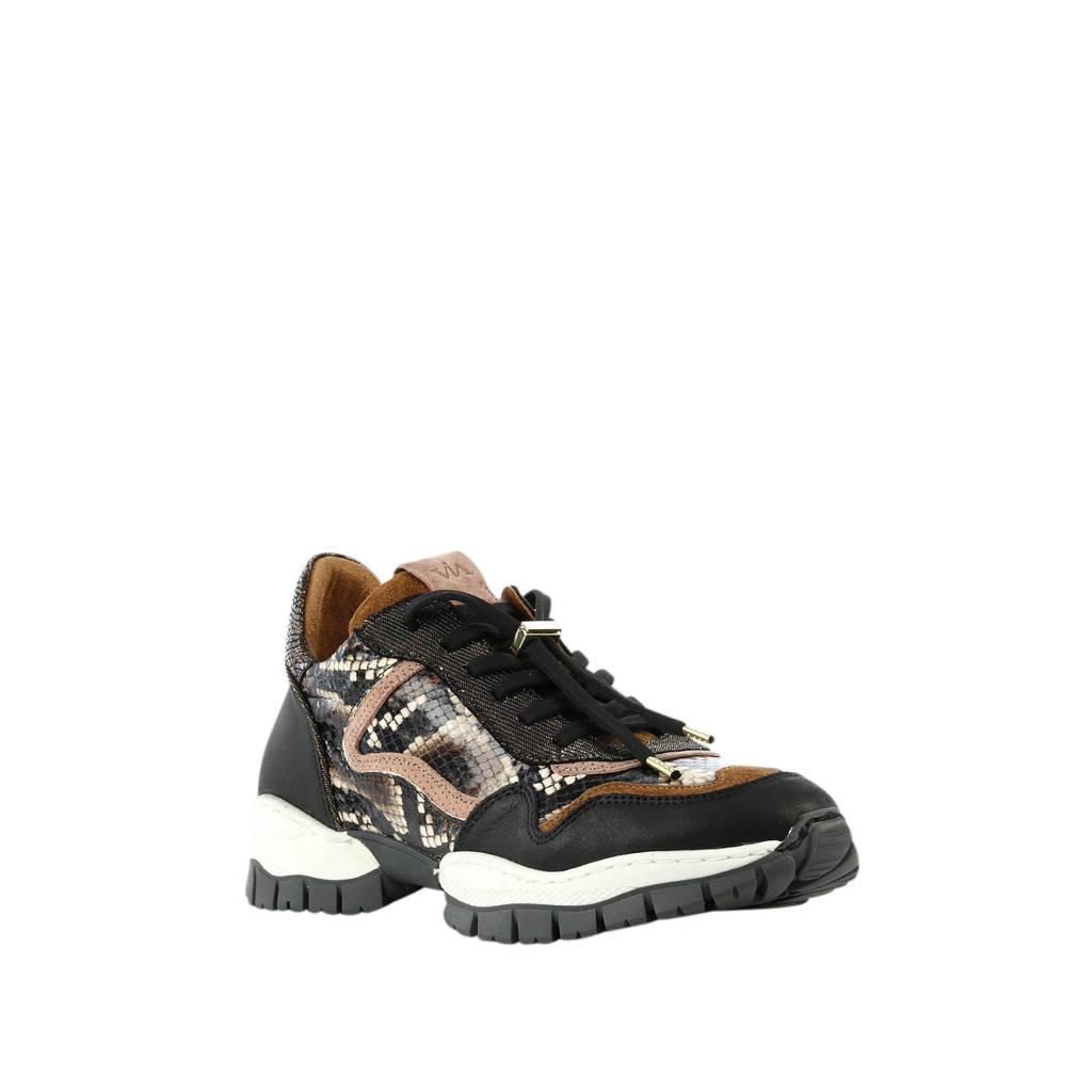 Via Vai  5305039 leren sneakers slangenprint bruin, Bruin/zwart