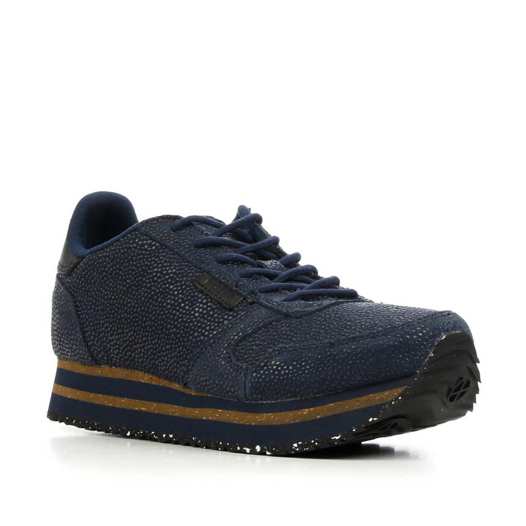 Woden Ydun Pearl Platform suède sneakers donkerblauw, Donkerblauw