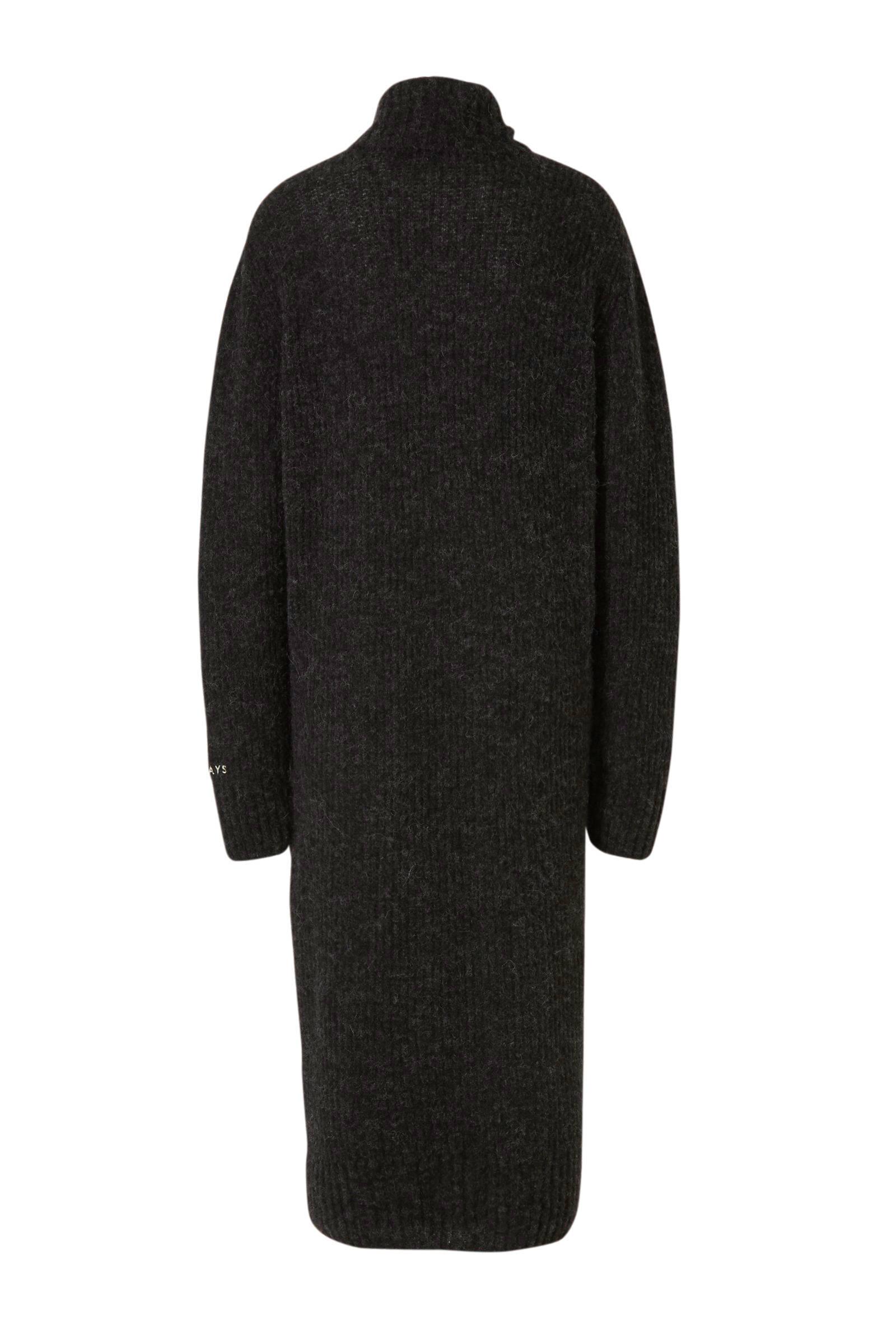 10DAYS gemêleerde gebreide jurk met wol zwart gemêleerd