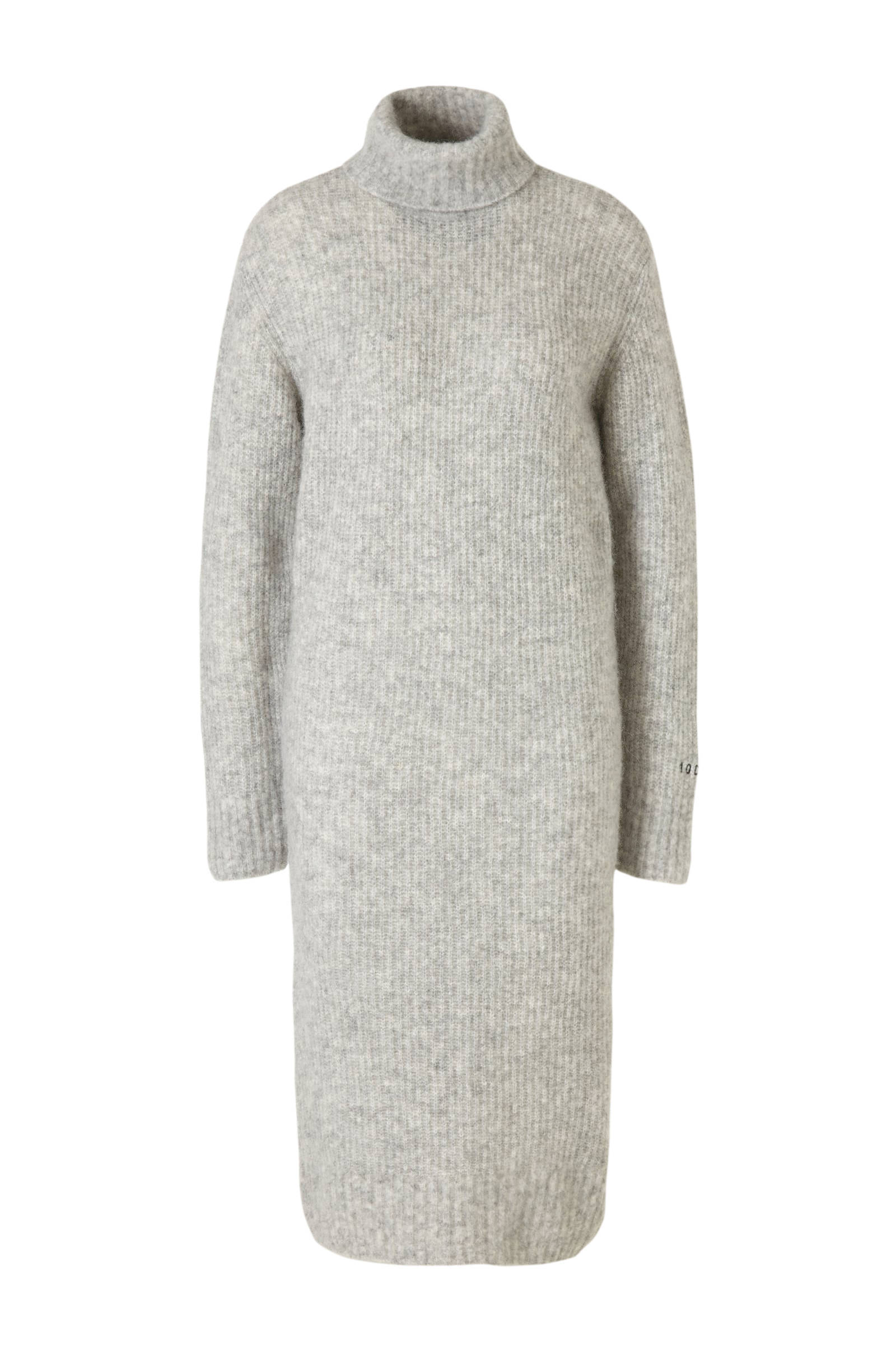 10DAYS gemêleerde gebreide jurk met wol lichtgrijs | wehkamp